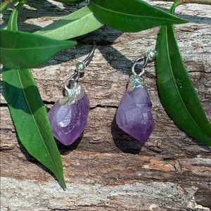 Amethyst earrings niobium ear wire